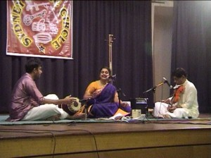 Carnatic singer Prema Anandakrishnan and her accompanists performing for the monthly Sydney Music Circle concert
