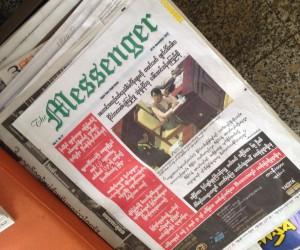 Burmese community paper in a Bangkok restaurant