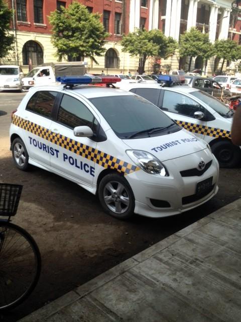 Tourist Police cars in Yangon