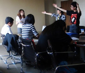 Chinese university students in a debate, 2011 (Photo by Nikki Feng)