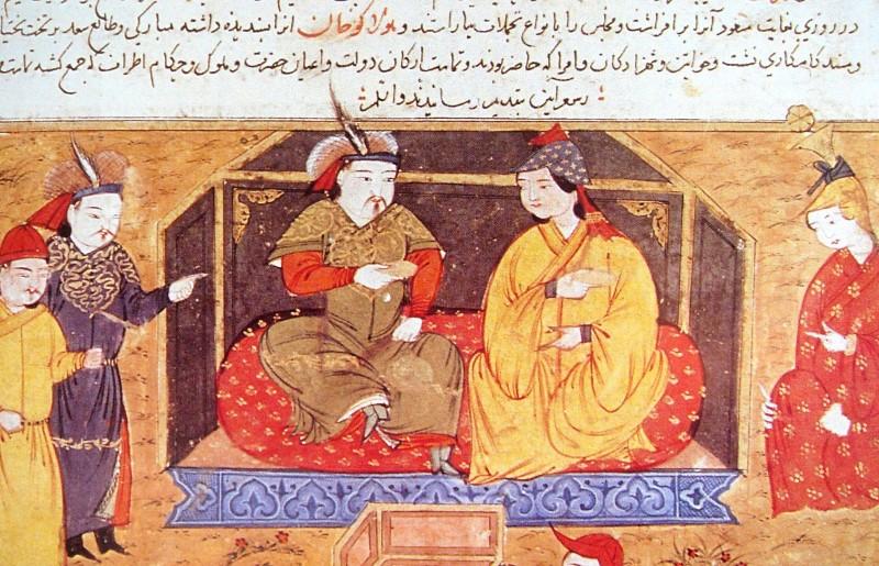 Il-Khan Hülegü and his queen, Doquz Khatun, a Syriac Christian, as depicted in the Jami al-Tawarikh (Source: Wikipedia)