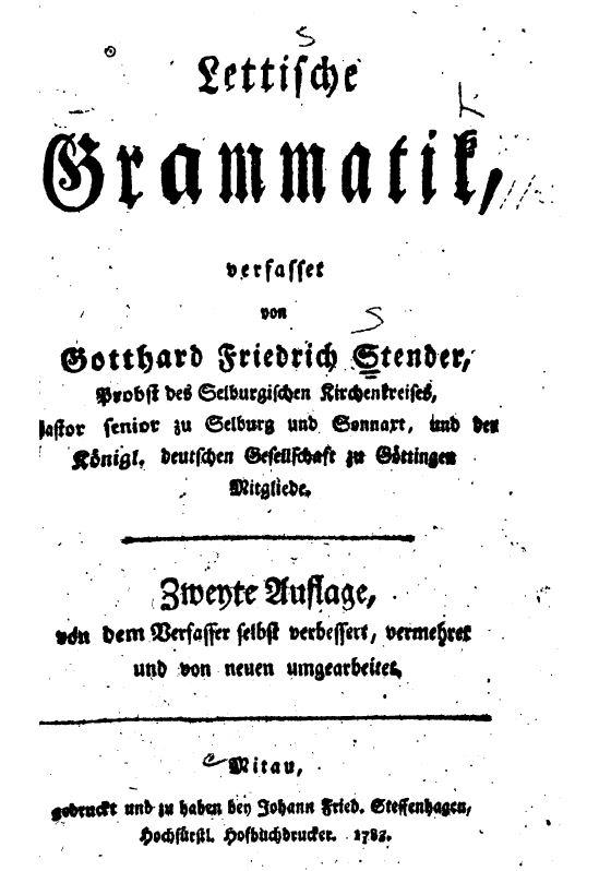 Stender's Latvian Grammar