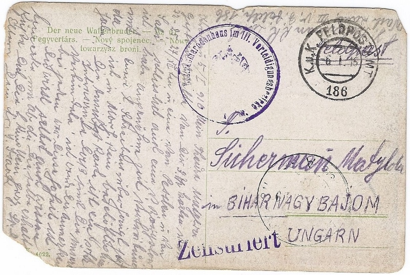 Back of postcard sent by Private Jacob Isak Sicherman on 1 June 1916